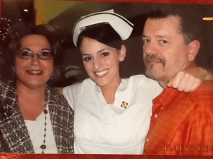Paige with mom and dad.