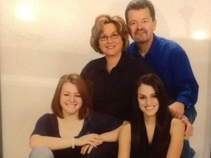 Family Picture, 2008 Kelsey (L), Paige (R), Doug and me Taken 1 month before my breast cancer diagnosis