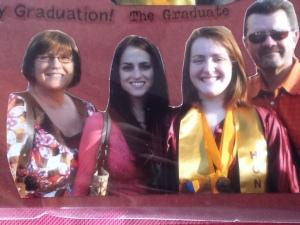 Graduation L to R Me, Paige, Kelsey, Doug