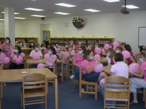 RBW staff...all in pink with their surgical masks