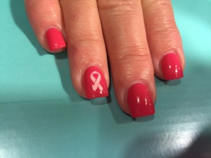 My nails are ready for my 1st 5K.  I am participating in Race For A Cure. Yay!