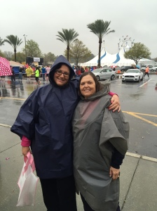 Breast cancer survivors. Me 6 years (L), Mary 10 years (R) Waiting for the race to start...in the rain.