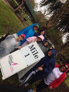 1 mile marker!  Rain rain go away!