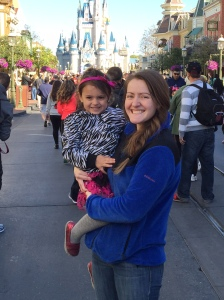 ...with Aunt Kelsey in front of Cinderella's Castle