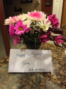 Survivor flowers (6 years) from Kelsey and Josh waiting for me at home after my appointment this week..