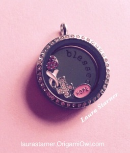 My first locket... Blessed, Hope, Cross, Pink Ribbon, Pink Heart