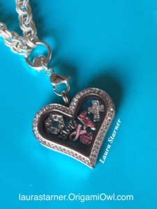 As my story changes, so does my locket. I have added... Designer Charm, Blog, Hope (script) Also, I put all charms in a heart locket because the cause will always be close to my heart.